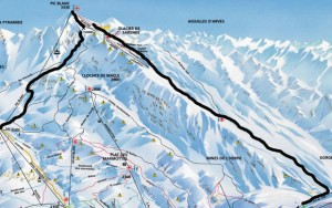 Piste map showing Pic Blanc and Sarenne Glacier Runs